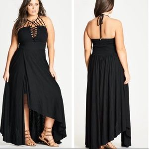 City Chic Black Lace Up Front Front Open Dress